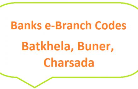 Banks e-Branch Codes Batkhela, Buner, Charsadda, Chitral for Fresh Notes 2019