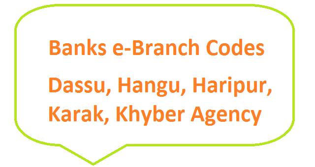 Haripur, Hungu, Dasu, Karak, Khyber Agency Banks E-Branches List Eid ul Fitr 2019 – Fresh Currency Notes – SBP 8877 SMS Service Banks e-Branch Codes Dassu, Hangu, Haripur, Karak, Khyber Agency