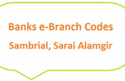 Sambrial, Sarai Alamgir e-Branch Codes MCB NBP HBL Fresh Notes 2019 on Eid ul Fitr 1440 SBP 8877 Service