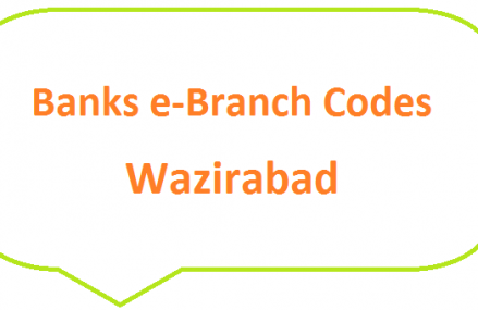 Wazirabad City Banks e-Branch Codes MCB NBP HBL Fresh Notes 2019 on Eid ul Fitr 1440 SBP 8877 Service