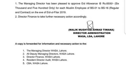 WASA Lahore Eid Allowance Notification on Eid ul Fitr 2019 – Rs 6500 Eidi for all  Employees