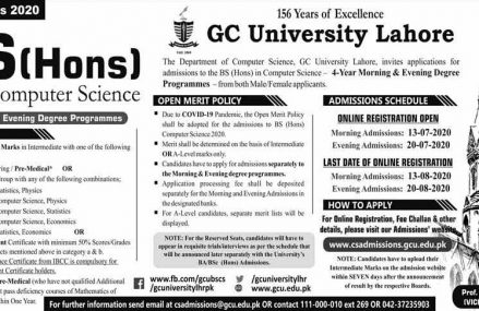 GCU Lahore BSCS (Hons) Admission 2020 Apply Online
