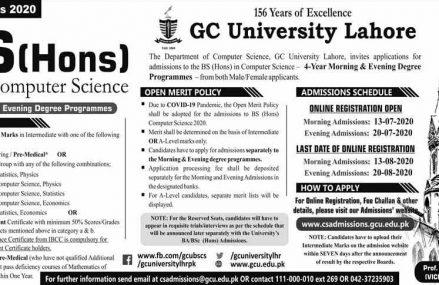 GCU Lahore BSCS (Hons) Admission 2020 Apply Online